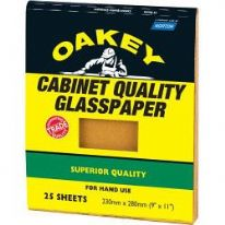Norton Oakey Cabinet Glasspaper - 280 x 230mm Pack 25 - 0/220